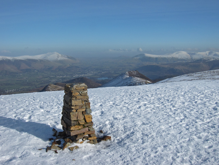 Eel Crag (Crag Hill) trig point with Keswick far below