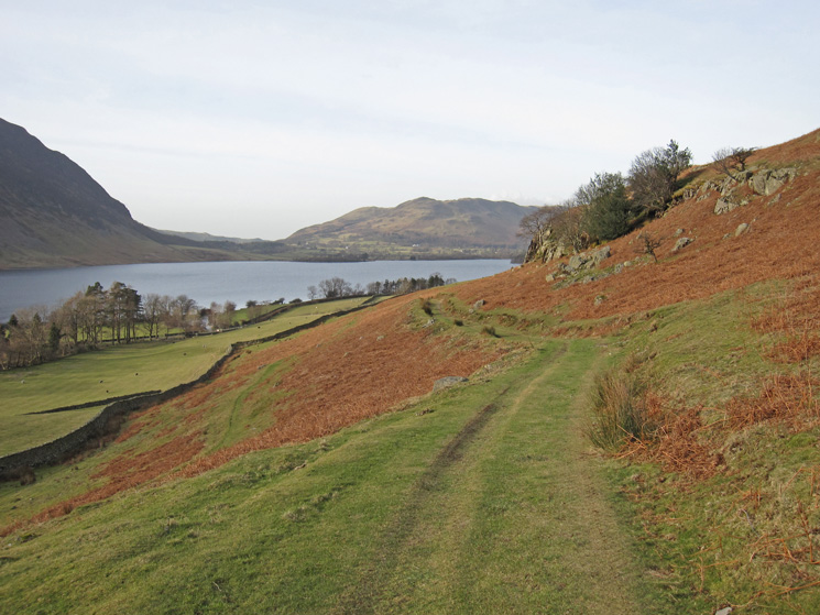 The track to Cinderdale Common. Low Fell in the distance beyond Crummock Water