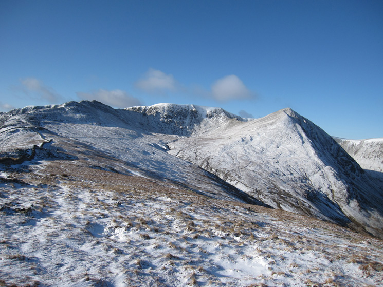 High Spying How, Helvellyn and Catstycam from Birkhouse Moor's summit