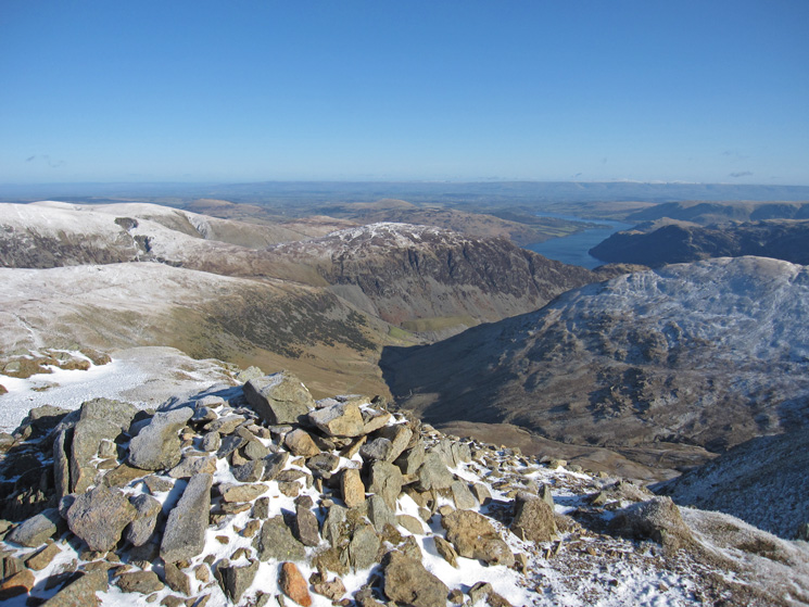 Ullswater and the North Pennines in the far distance from Catstycam's summit