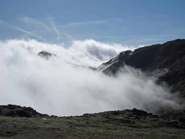Cloud below Bowfell and Esk Pike