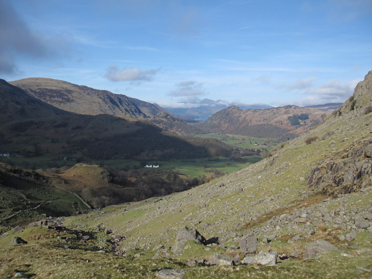 Heading back down into the valley. The white buildings are Mountain View Cottages