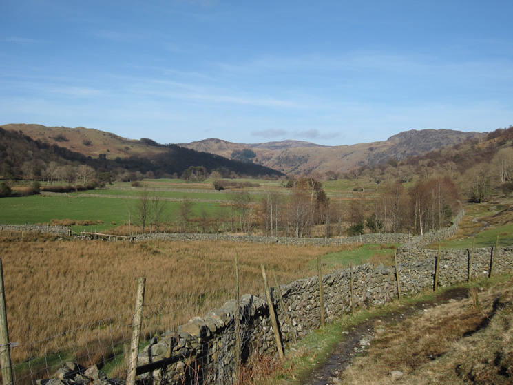 Looking back north as we head along the Allerdale Ramble to Seathwaite
