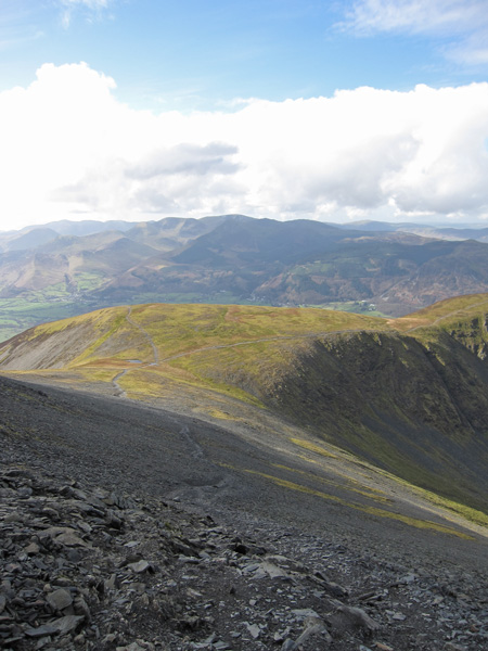 Looking back to Carl Side as we head up Skiddaw
