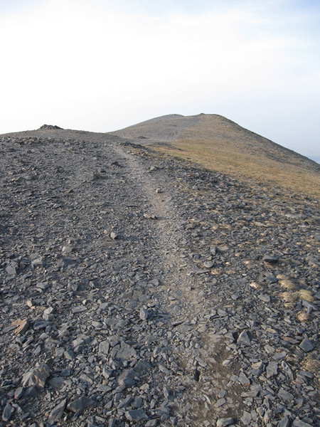 Skiddaw summit ridge, looking north, the trig point is on the furthest point