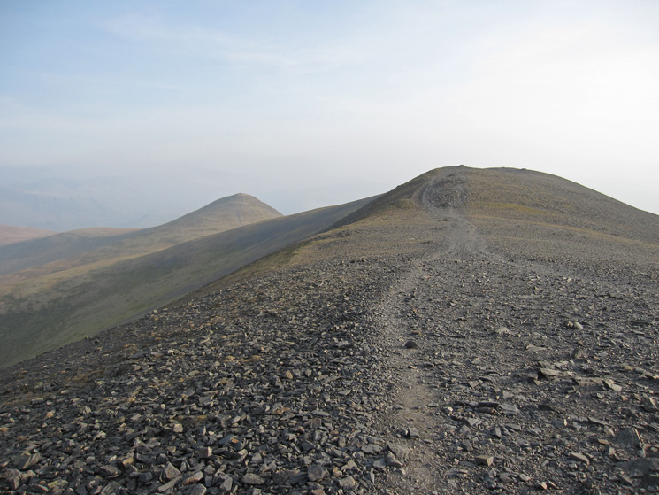 Looking south along Skiddaw's summit ridge with Little Man beyond