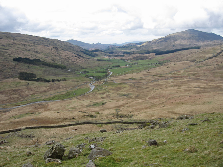 Looking back down on Cockley Beck with Harter Fell on the right from Ulpha Fell.