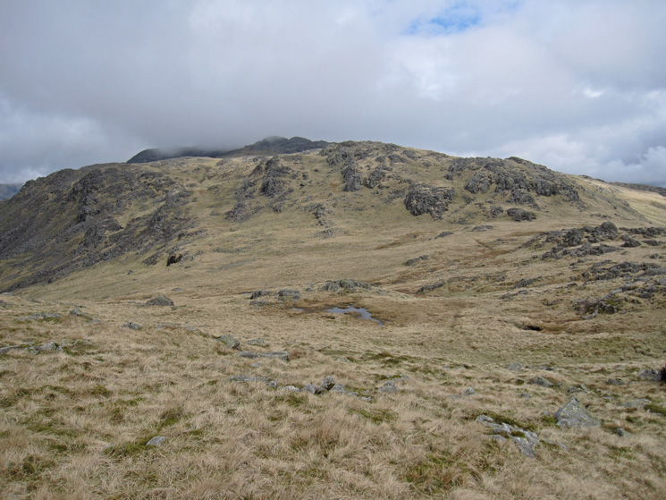 The route to Crinkle Crags (partly in cloud) from Little Stand