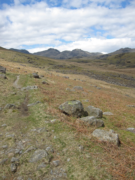 A last view back to the Scafells as I descend into Mosedale