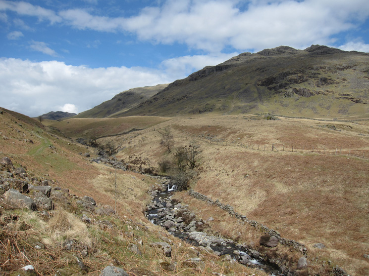 Nearly down at the road, Mosedale Beck with Little Stand on the right