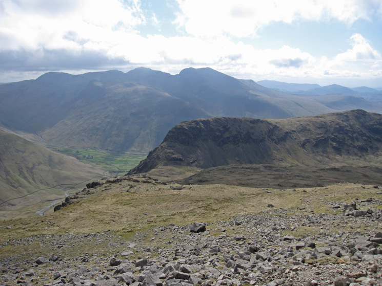 Looking back to Yewbarrow, with the Scafells behind, from our ascent of Red Pike