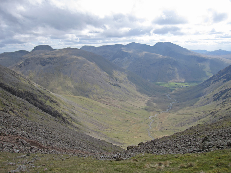 Mosedale, Kirk Fell and the Scafells from Wind Gap