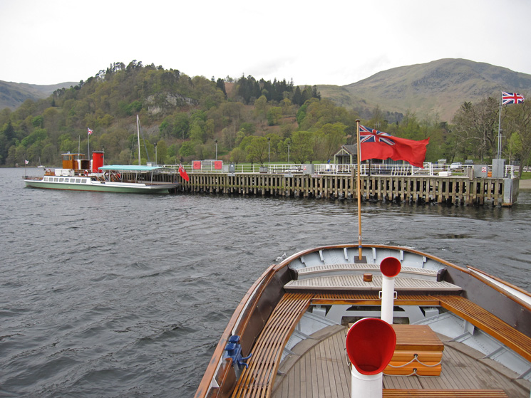 Lady of the Lake at Glenridding Pier as we depart on Raven