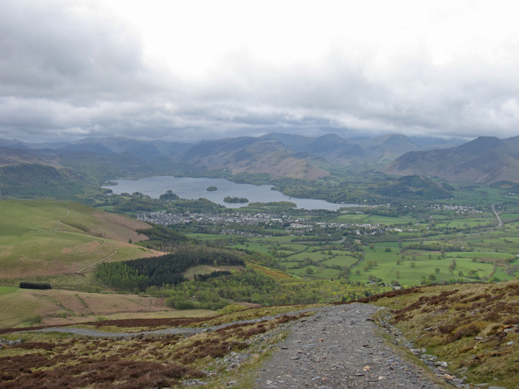 Keswick and Derwent Water as we gain height