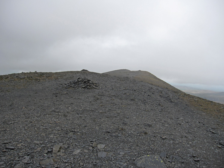 Looking back to Skiddaw's summit as we return by the same route