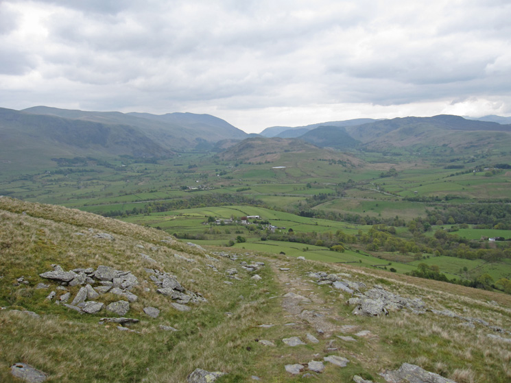 The view south as we head up Blease Fell