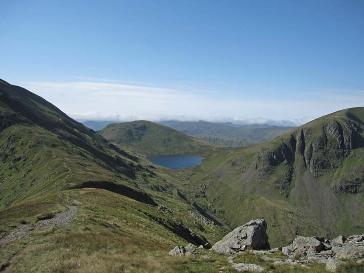 Grisedale Tarn, ridge to Fairfield on the left, Seat Sandal behind the tarn and Dollywaggon Pike on the right