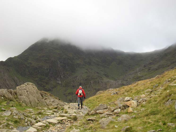 The top of Snowdon in cloud