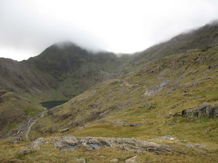 The way ahead with the Miners Track below heading up to Glaslyn