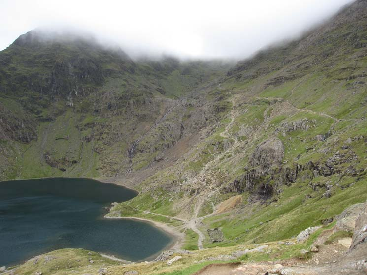 Glaslyn below with the Miners Track climbing up to join the Pyg Track