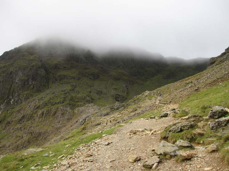 The top of Snowdon is still in cloud