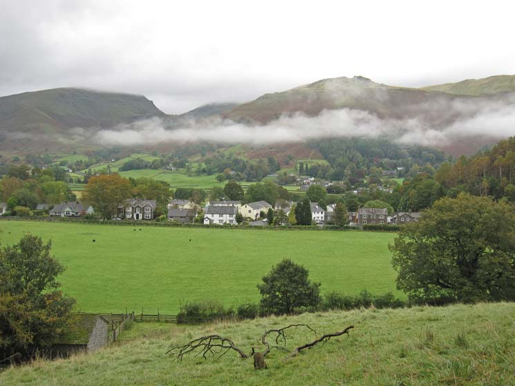 Looking over Grasmere village to Stone Arthur