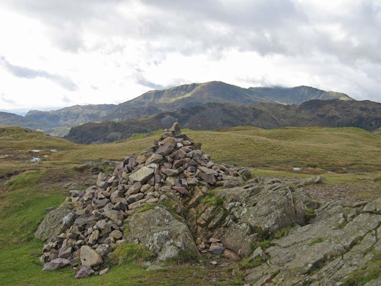 The Coniston fells from Silver How's summit cairn