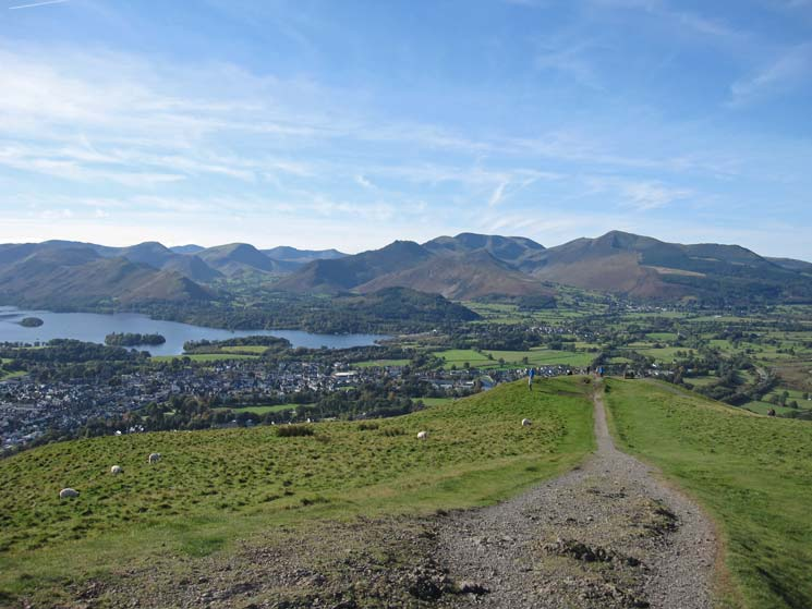 Keswick, Derwent Water and the north western fells from Latrigg's summit