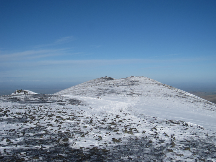 Skiddaw's summit ridge, the top is at the far end