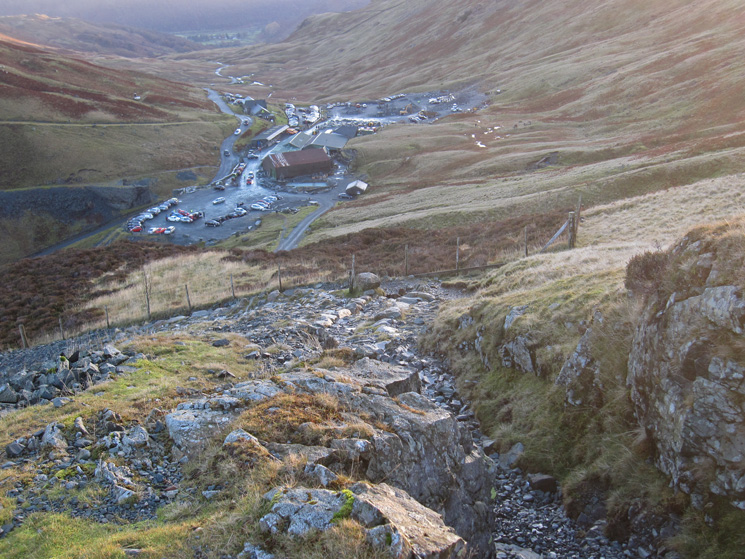 Looking back down on Honister Pass