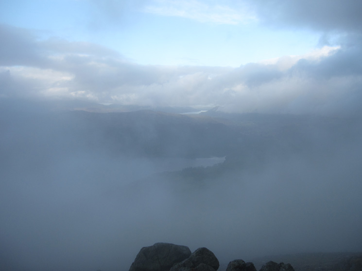 Into the cloud, a glimpse of Thirlmere and Bassenthwaite Lake