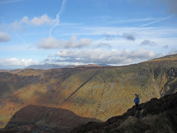 High on Eagle Crag with Skiddaw in the far distance