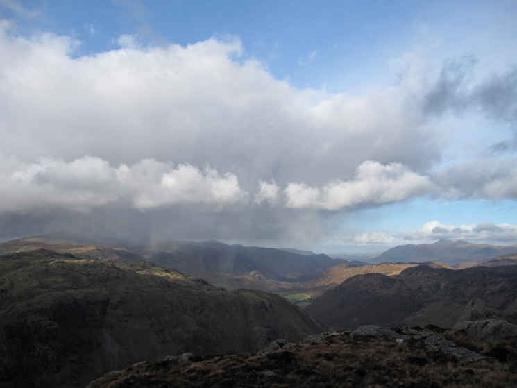 A rain shower passes to the north west
