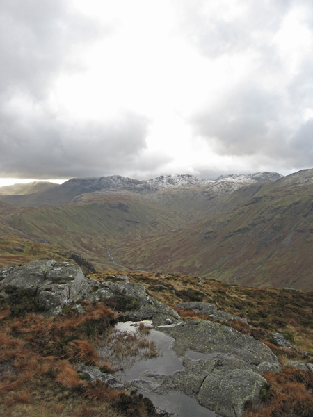 Towards the head of Langstrath from Sergeant's Crag summit