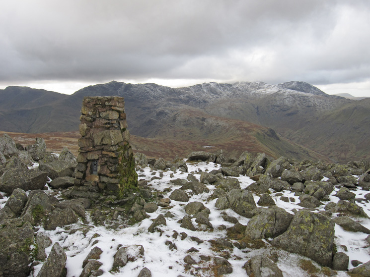 Bowfell, Esk Pike, Ill Crag and Great End from High Raise's summit trig point