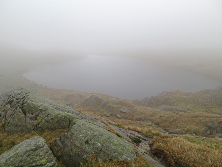 Looking back down on Small Water, into the cloud now