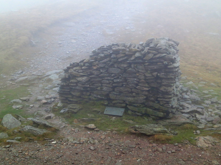 The shelter at the top of Nan Bield Pass