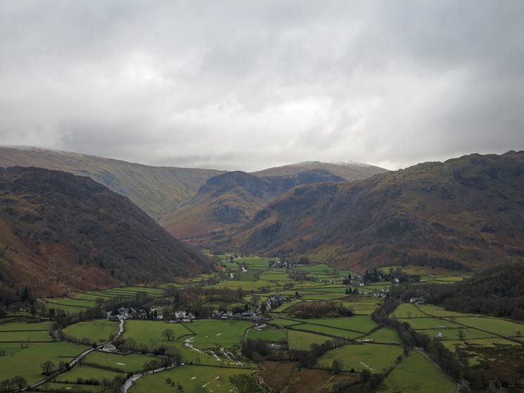 Looking over Rosthwaite to Eagle Crag, and a touch of snow on High Raise beyond