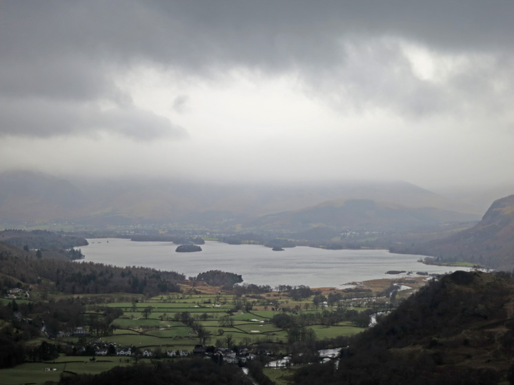 Derwent Water with Skiddaw in cloud beyond from Castle Crag's summit
