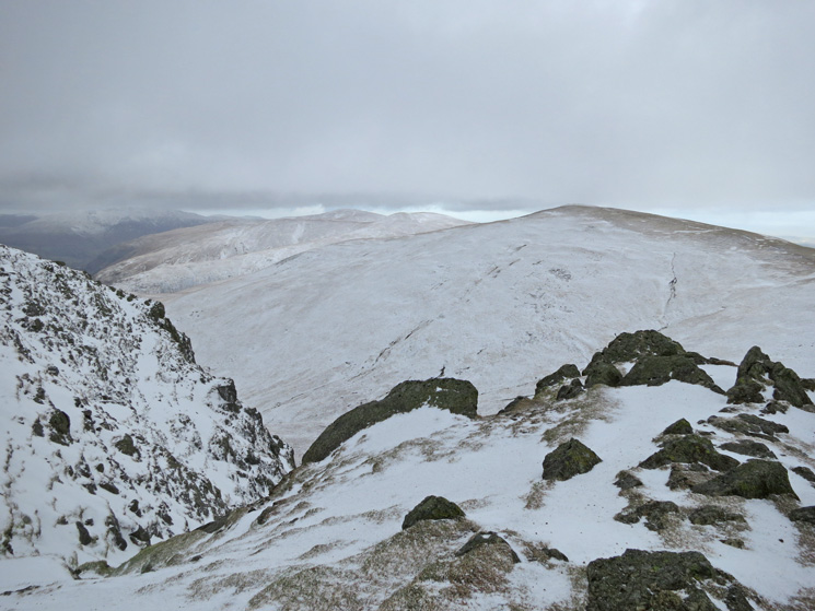 White Side with the Dodds beyond and Blencathra in the far distance