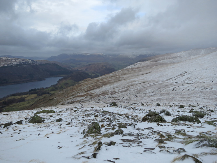 Thirlmere on the left with Skiddaw and Blencathra in the distance