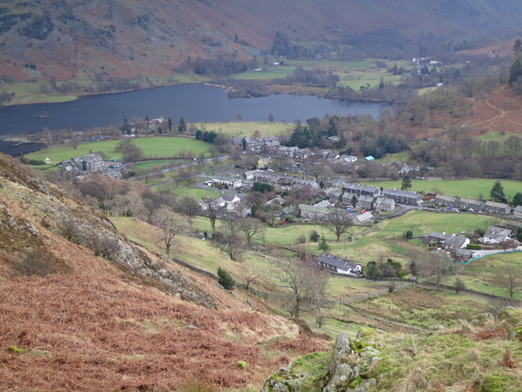 Glenridding village and the head of Ullswater, now below us