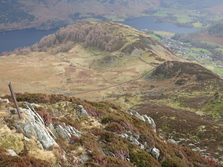 Looking back down on Glenridding Dodd from the boundary marker at Heron Pike's summit
