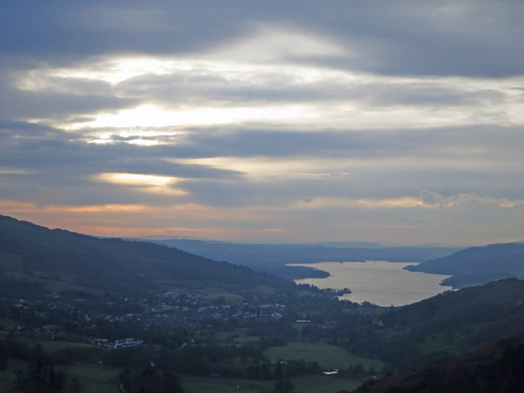 Ambleside and Windermere as we head up Nab Scar