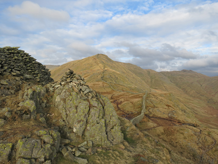 High Pike from Low Pike's summit with Little Hart Crag on the right