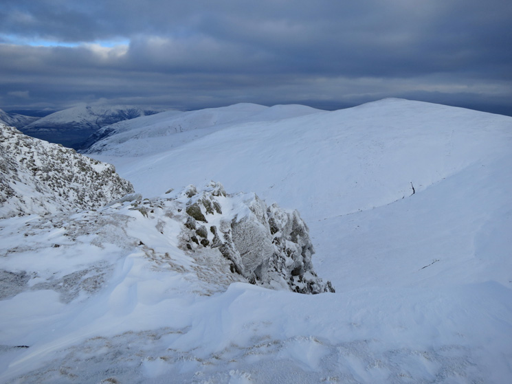 The north end of the Helvellyn ridge and Blencathra in the far distance