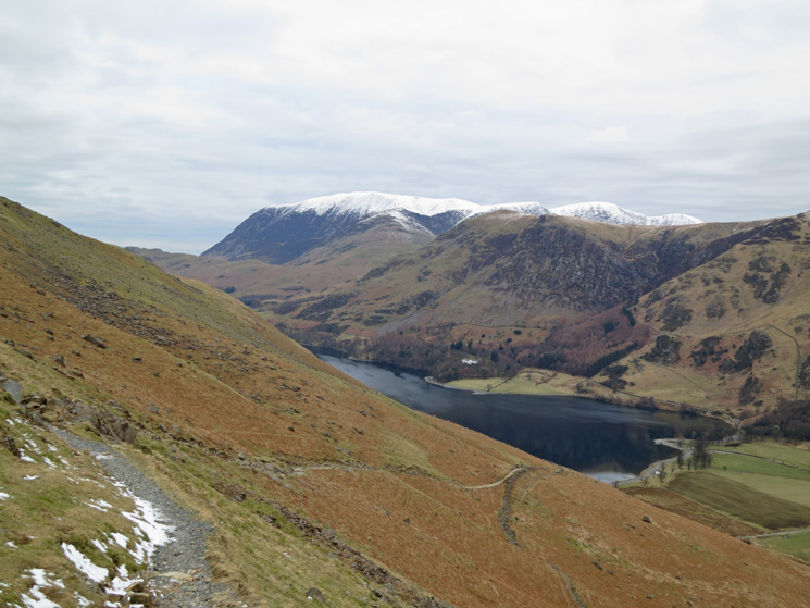 Looking back down the Scarth Gap path, Buttermere is now far below