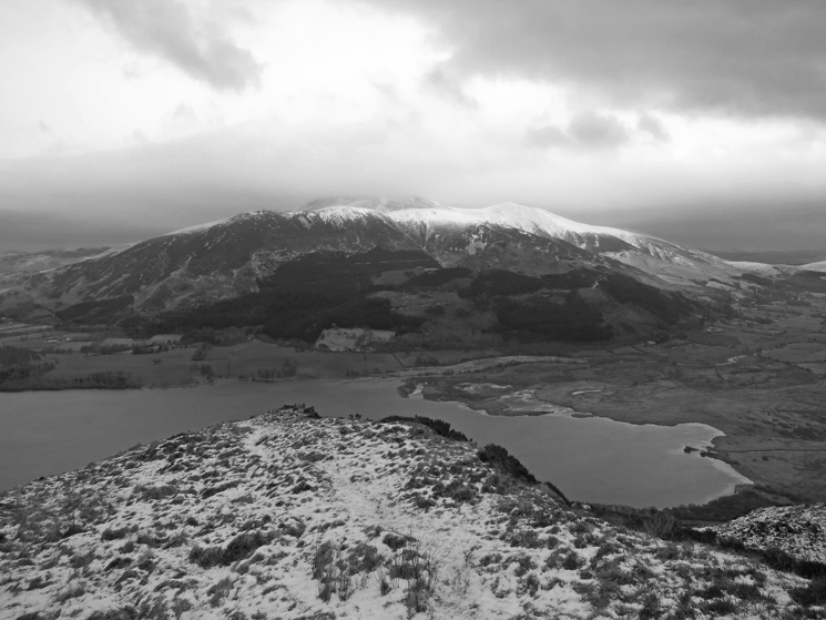 Over Bassenthwaite Lake to the Skiddaw fells from near the top of Barf