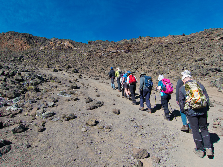 Heading up on our acclimatisation walk