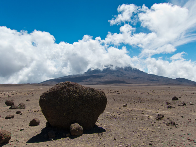 Looking back to Mawenzi, the rocks in the foreground are lava bombs